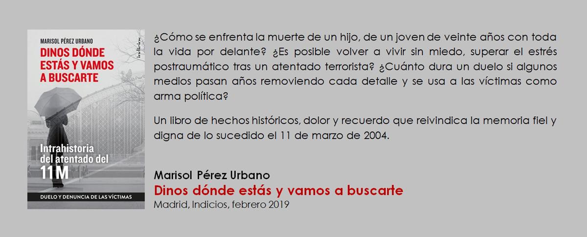 """""""Dinos dónde estás y vamos a buscarte"""", de Marisol Pérez Urbano"""