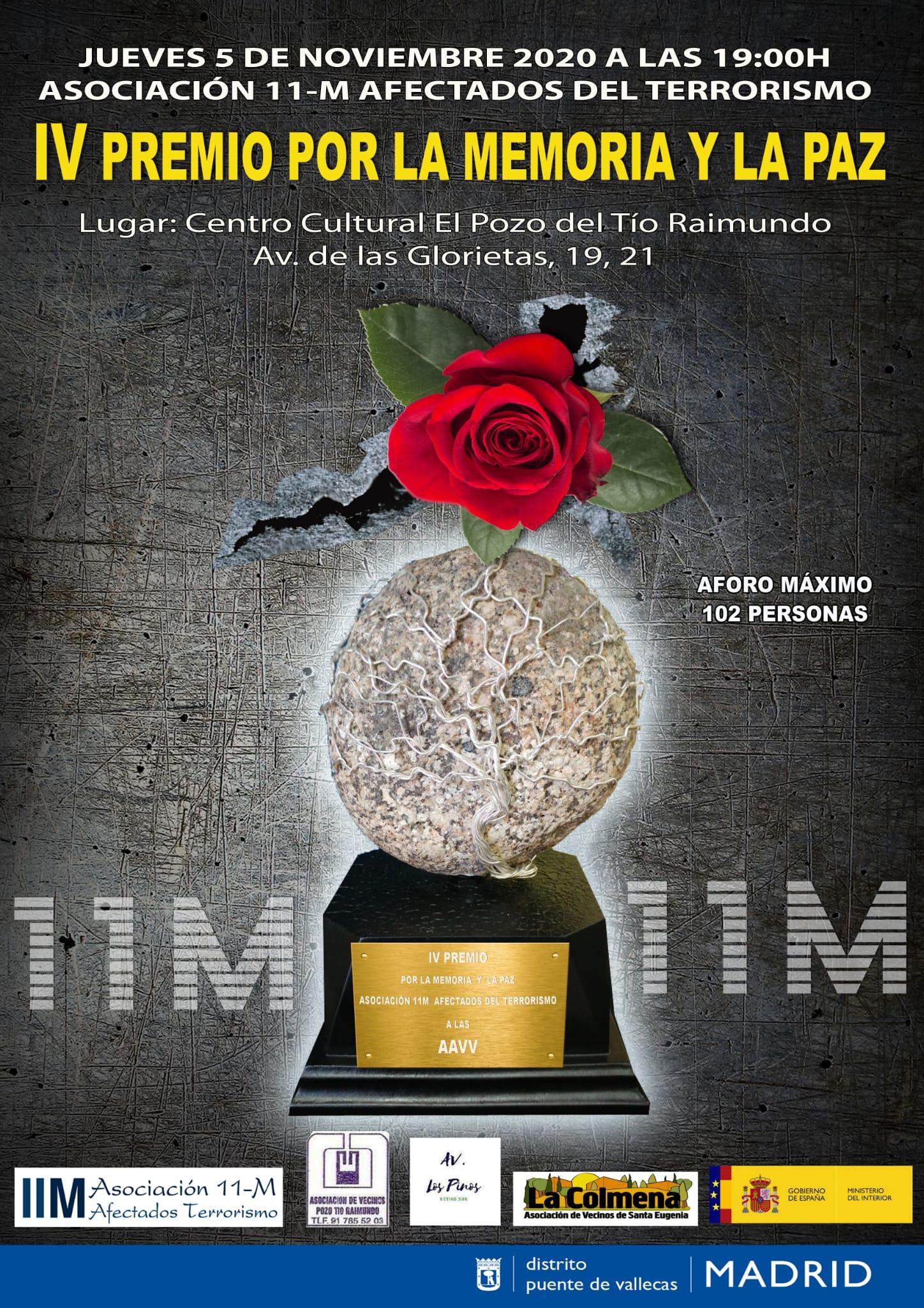Acto de entrega del IV Premio por la Memoria y por la Paz