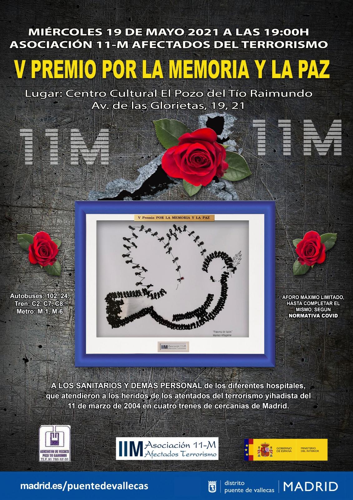 Cartel del V Premio por la memoria y por la paz